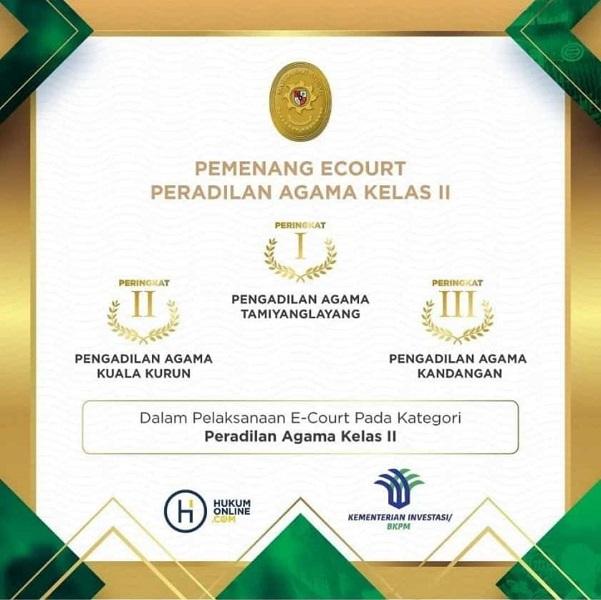 Juara II Peradilan Elektronik Pada Kategori Peradilan Agama Kelas II